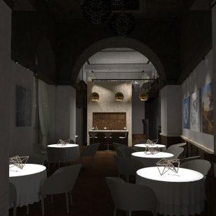 """Ristorante """"Pipero Roma"""" – Corso Vittorio Emanuele (Progettazione e Ristrutturazione) – render luci spente"""