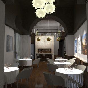 """Ristorante """"Pipero Roma"""" – Corso Vittorio Emanuele (Progettazione e Ristrutturazione) – render luci accese"""