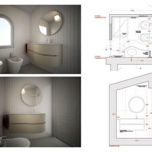 Villa Olgiata, Roma – (Progettazione e Ristrutturazione) Render Pianta Bagno (CABINA ARMADIO)