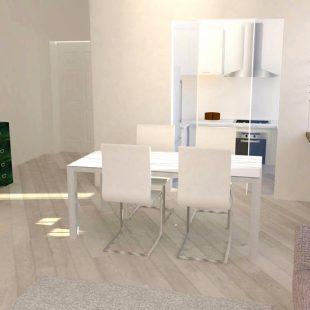 Casa Trastevere, Roma (Progettazione e Ristrutturazione) – Vista 3D Sala pranzo