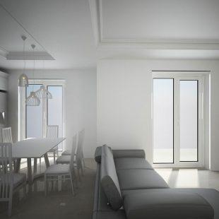 Casa Torre Gaia, Roma (Progettazione e Ristrutturazione)  – Vista 3D Sala