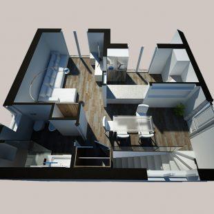 Casa Torre Gaia, Roma (Progettazione e Ristrutturazione) – Vista3D – alto (pianoterra)